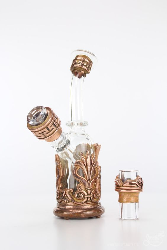Kuhns Glass Neoclassical Motif Electroformed Water Pipe