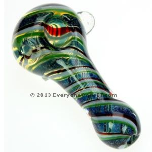 Striped Glass Spoon Pipe