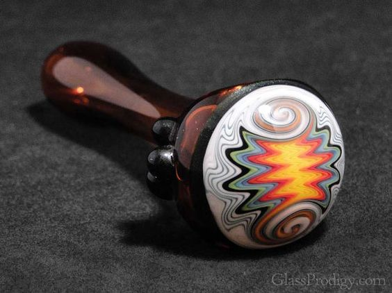 Colored glass spoon pipe - Heady